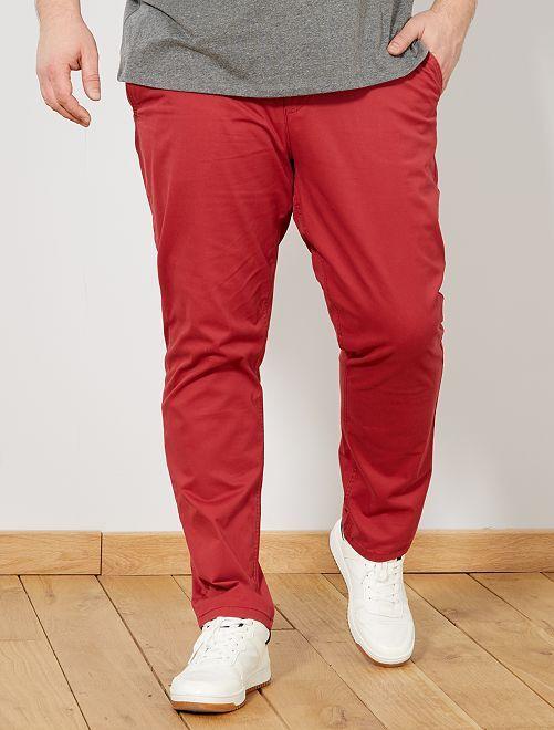 26529da4a1e36 Pantalón chino de sarga elástico fitted Tallas grandes hombre - rojo ...