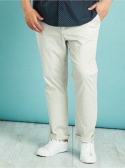 Tallas grandes hombre Pantalón chino recto de sarga