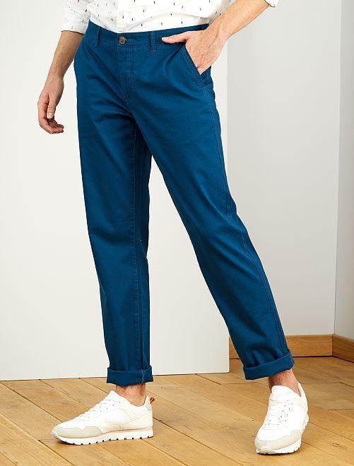 Pantalón chino recto L38 +1,90 m                                                                 azul poseidon