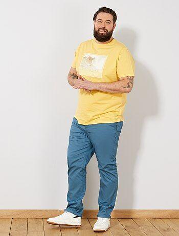 Tallas grandes hombre - Pantalón chino recto oxford - Kiabi f2632203e23