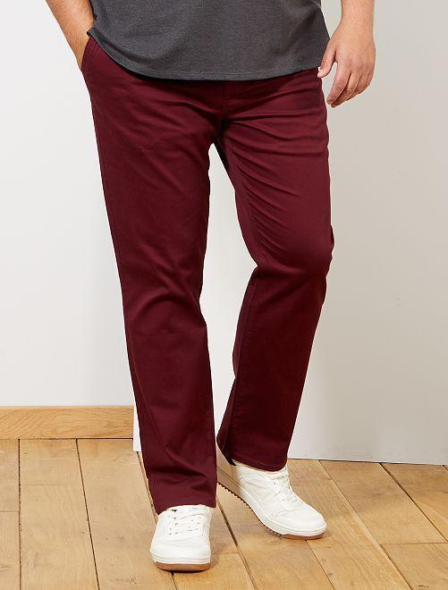 Pantalón chino recto oxford                                                                             rojo burdeos
