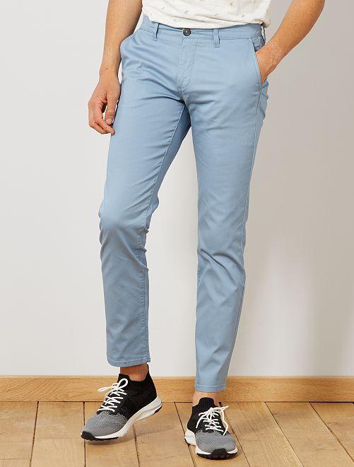 Pantalón chino regular de punto de piqué                                                                                                     azul denim Hombre