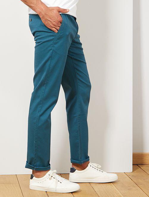 Pantalón chino regular de punto de piqué                                                                                                                                                                 AZUL