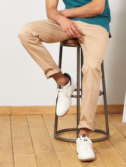 Pantalón chino regular de punto de piqué                                                                     BEIGE Hombre