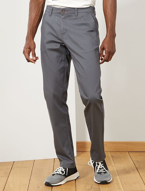 Pantalón chino regular de punto de piqué                                                                             GRIS