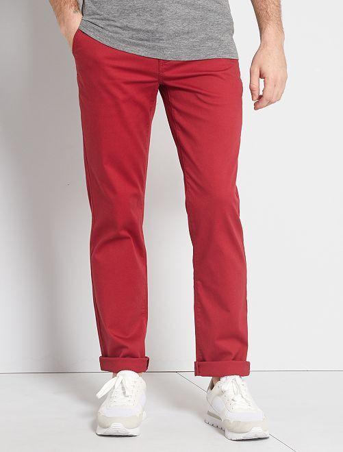Pantalón chino regular de punto de piqué                                                                                                                                         rosa oscuro