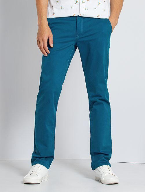 Pantalón chino regular L30 eco-concepción                                                                                                                             azul poseidon