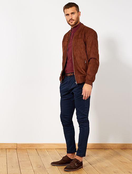 Pantalón chino skinny + cinturón                                         AZUL Hombre