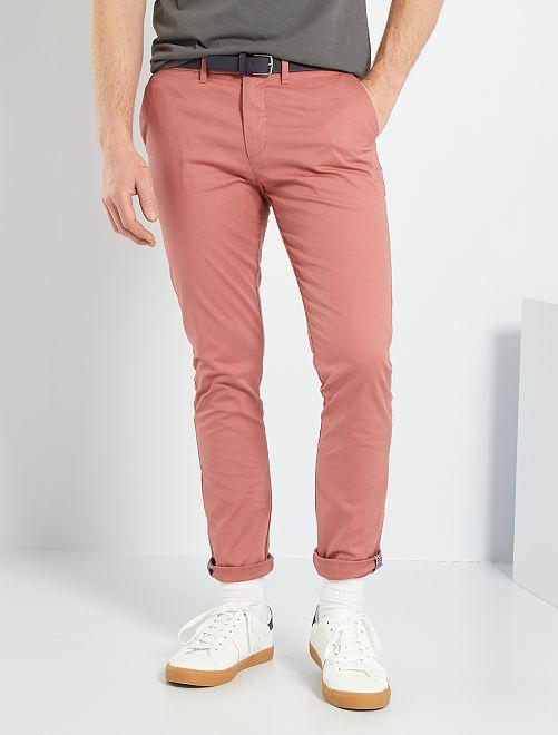 Pantalón chino skinny + cinturón                                                     ROSA