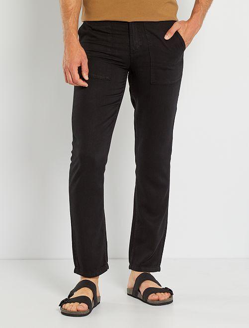Pantalón chino skinny de lyocell                                         negro