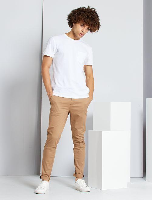 Pantalón chino skinny L30 eco-concepción                                                                                                                                                                                         BEIGE