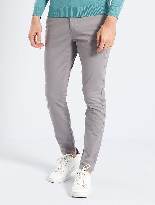 Pantalón chino skinny L30 eco-concepción                                                                                                                                         GRIS