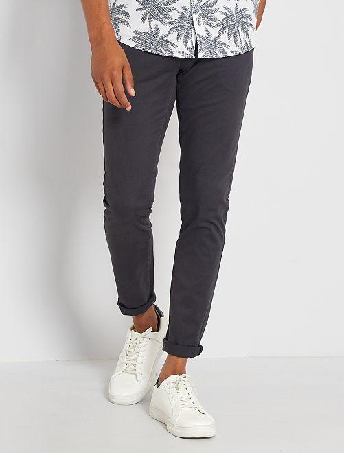 Pantalón chino skinny L30 eco-concepción                                                                                                                                                                                         gris oscuro