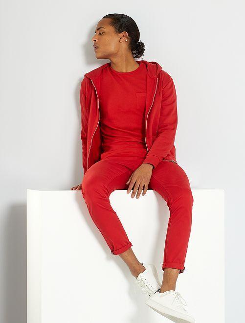 Pantalón chino skinny L30 eco-concepción                                                                                                                                                     rojo bombero