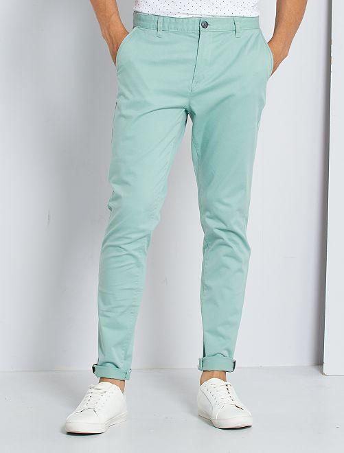 Pantalón chino skinny L30 eco-concepción                                                                                                                                                                                         verde gris