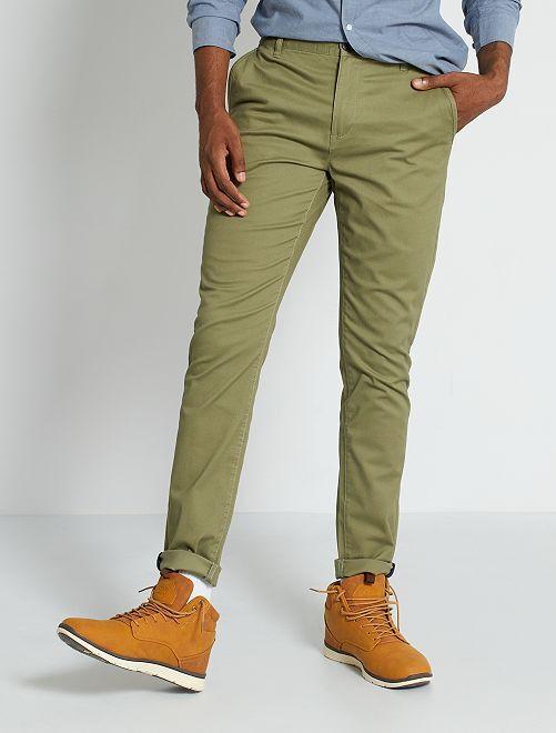 Pantalón chino skinny L30 eco-concepción                                                                                                                 verde liquen