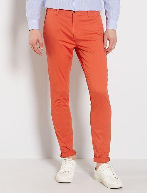 Pantalón chino skinny                                                                 naranja páprika