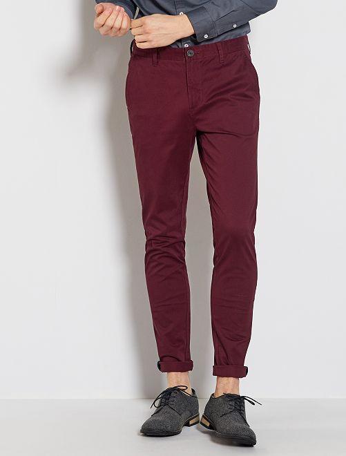 Pantalón chino skinny                             rojo