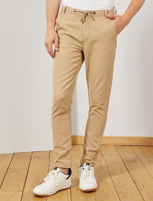 Pantalón chino slim                             BEIGE Hombre