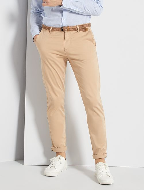 Pantalón chino slim + cinturón                                                                 BEIGE