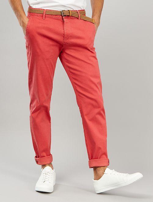Pantalón chino slim + cinturón                                         rojo granate