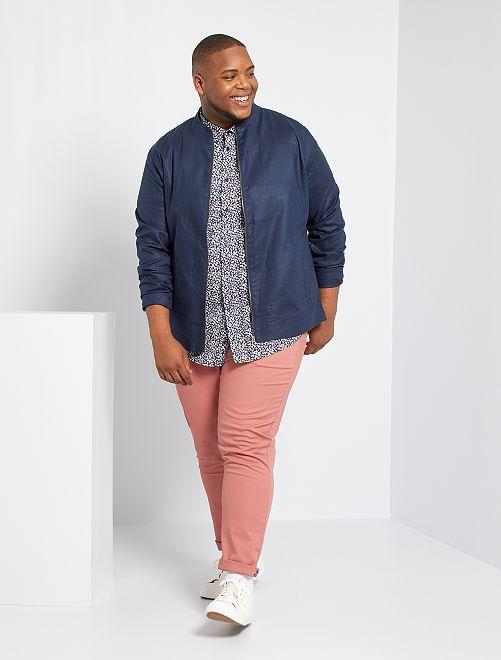 Pantalón chino slim + cinturón                             ROSA