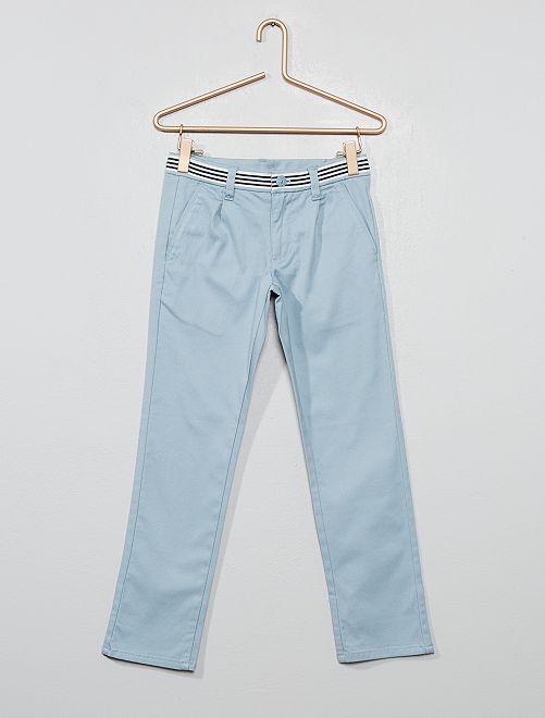 Pantalón chino slim de algodón elástico                                         azul ceniciento