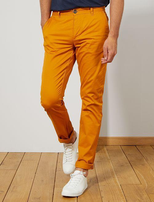 Pantalón chino slim de algodón puro L36 +1,90m                                                     AMARILLO