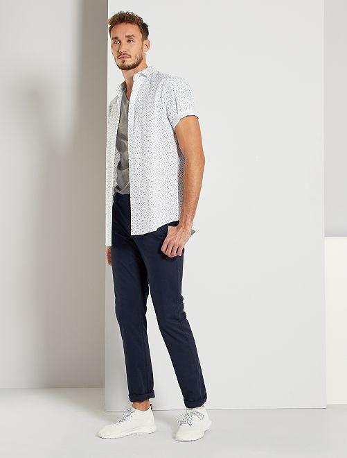 Pantalón chino slim de algodón puro L36 +1,90m                                                                 AZUL