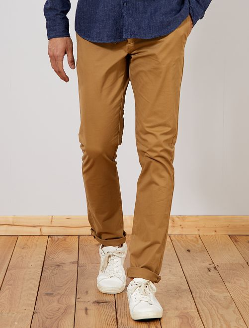 Pantalón chino slim de algodón puro L36 +1,90m                                                                 BEIGE