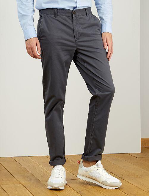 Pantalón chino slim de algodón puro L36 +1,90m                                                                             GRIS