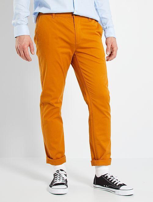 Pantalón chino slim de algodón puro L36 +1,90m                                                                                         marrón