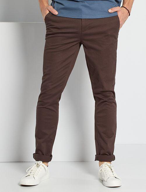 Pantalón chino slim de algodón puro L36 +1,90m                                                                                         marrón oscuro
