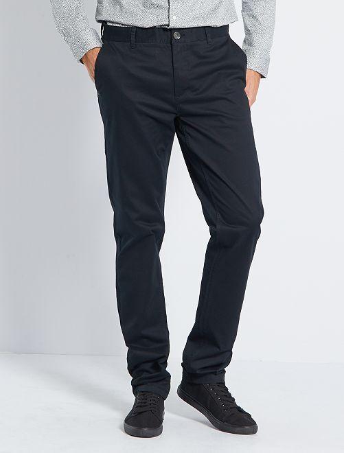 Pantalón chino slim de algodón puro L36 +1,90m                                                                 negro