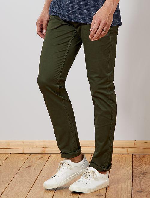 Pantalón chino slim de algodón puro L36 +1,90m                                                                 verde selva Hombre de más de 1'90m