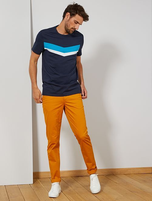 Pantalón chino slim de algodón puro L38 +1,90m                                                                                         AMARILLO