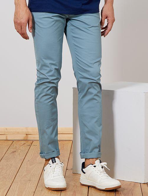 Pantalón chino slim de algodón puro L38 +1,90m                                                                 azul gris Hombre de más de 1'90m