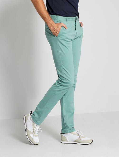 Pantalón chino slim de algodón puro L38 +1,90m                                                                 azul