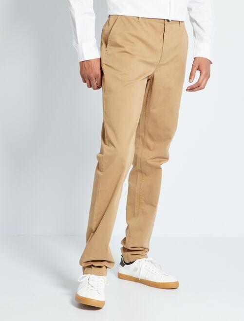 Pantalón chino slim de algodón puro L38 +1,90m                                                                 BEIGE
