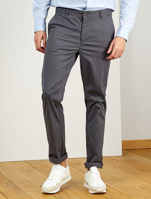 Pantalón chino slim de algodón puro L38 +1,90m                                                                                                     GRIS
