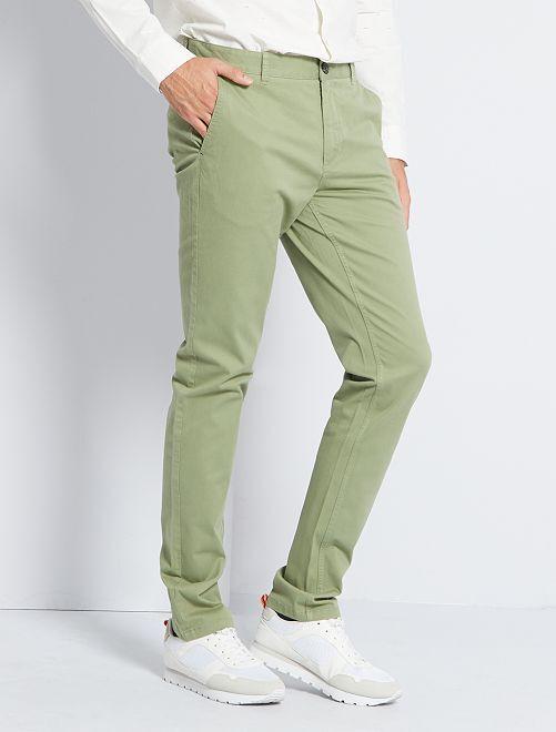 Pantalón chino slim de algodón puro L38 +1,90m                                                                                                                 KAKI