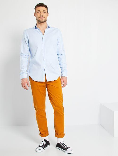 Pantalón chino slim de algodón puro L38 +1,90m                                                                             marrón