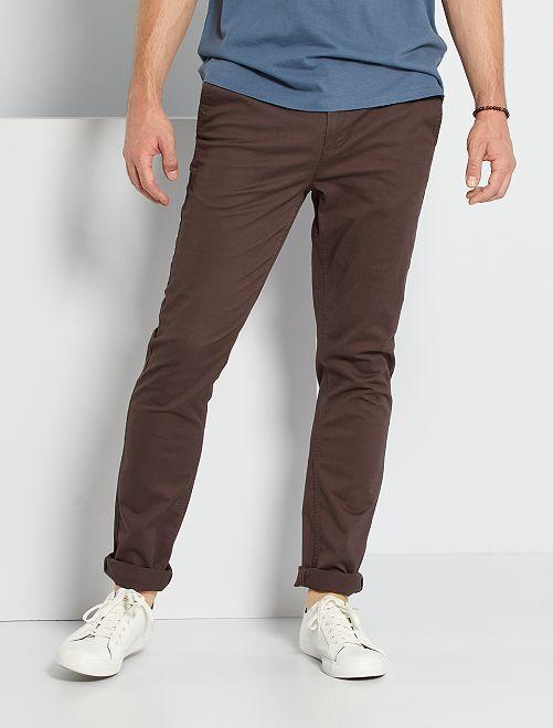 Pantalón chino slim de algodón puro L38 +1,90m                                                                             marrón oscuro