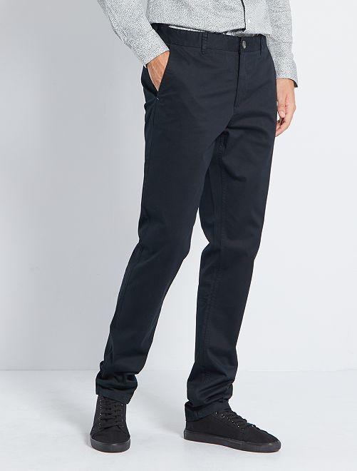 Pantalón chino slim de algodón puro L38 +1,90m                                                                                 negro