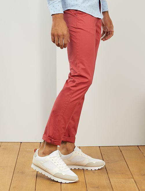 Pantalón chino slim de algodón puro L38 +1,90m                                                                                                     rojo granate