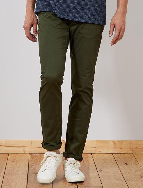 Pantalón chino slim de algodón puro L38 +1,90m                                                                 verde selva Hombre de más de 1'90m