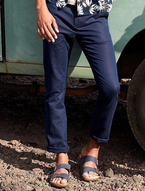 Pantalón chino slim de algodón y lino                                         AZUL Hombre