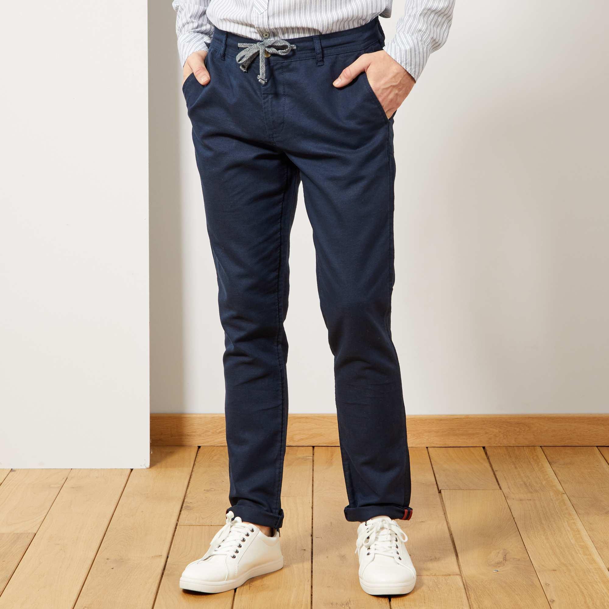 61985c260d Pantalón chino slim de algodón y lino Hombre - AZUL - Kiabi - 20