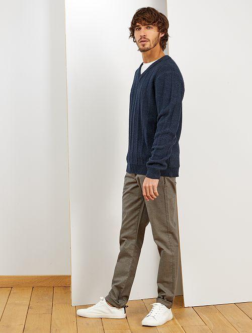 Pantalón chino slim oxford                             BEIGE
