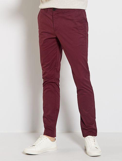 Pantalón chino slim                                         rojo